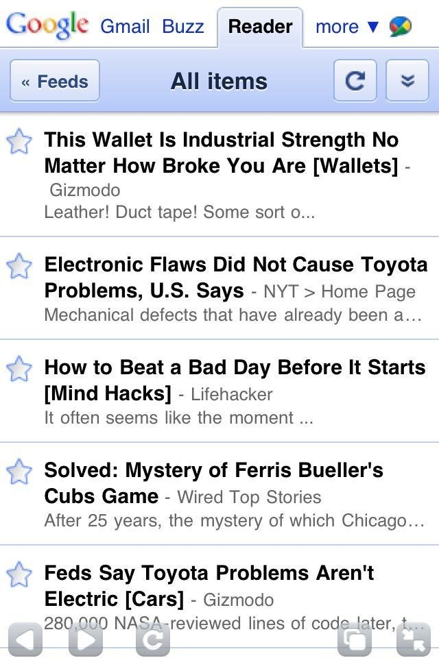 Google Reader screenshot 1