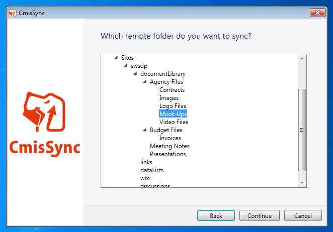 CmisSync screenshot 2