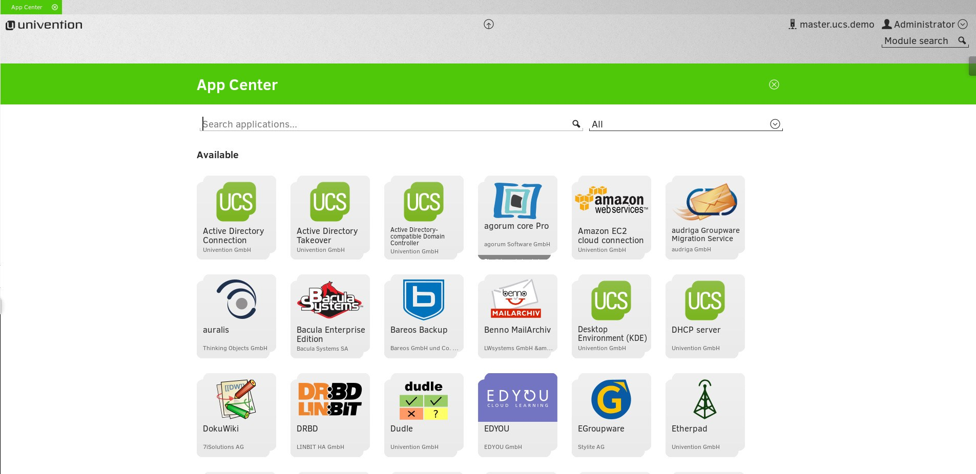Univention Corporate Server screenshot 1