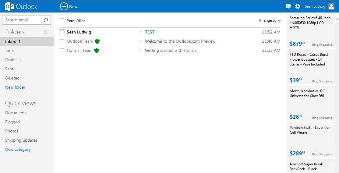Outlook.com screenshot 1