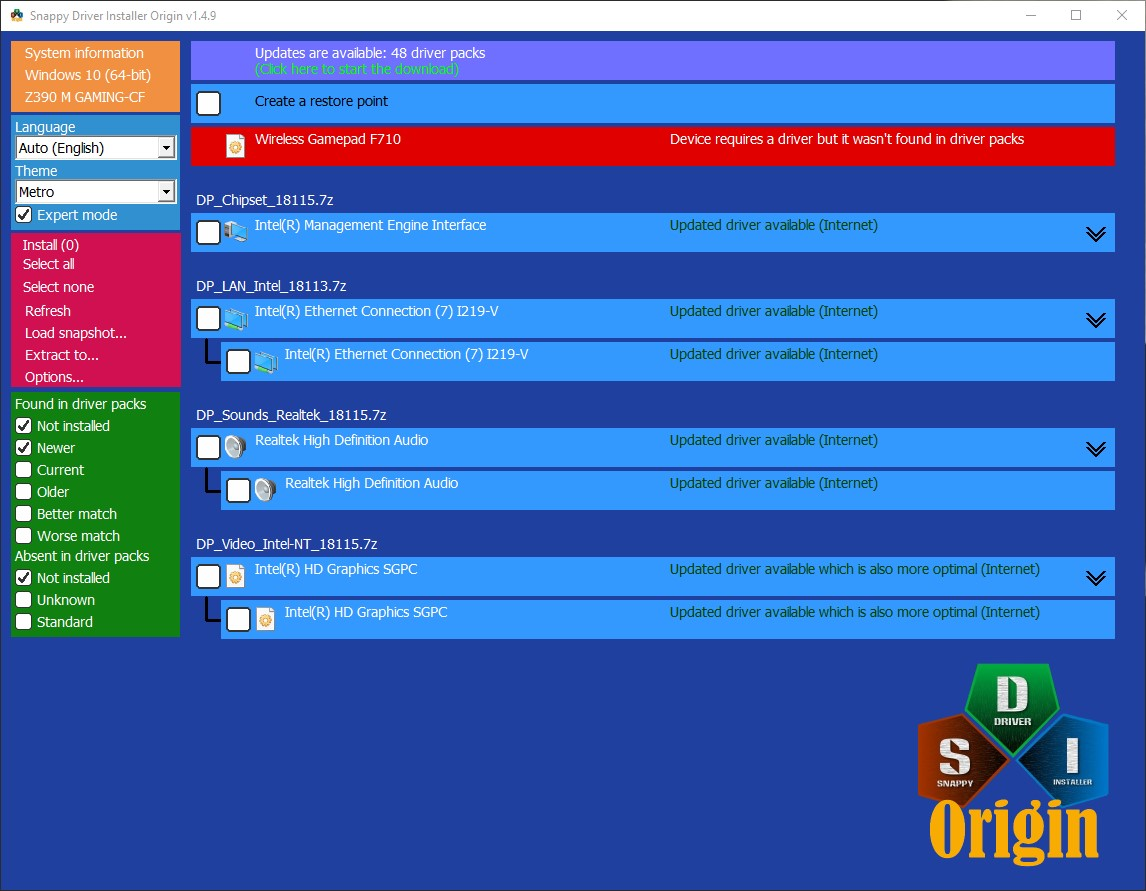 Snappy Driver Installer Origin screenshot 1