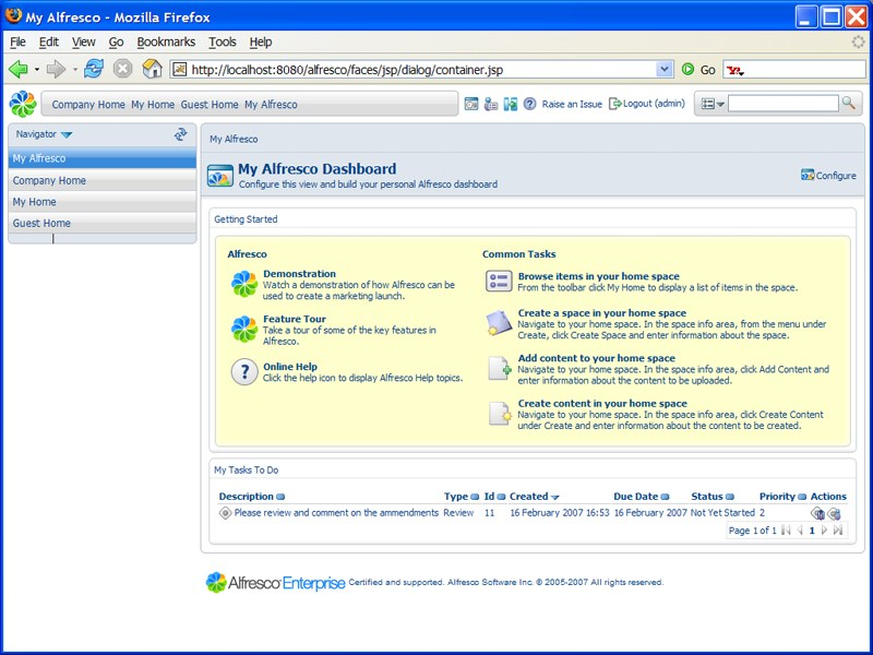 Alfresco Community Edition screenshot 2