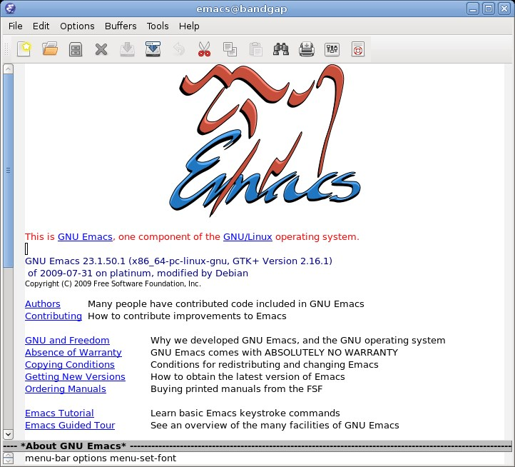 GNU Emacs screenshot 1