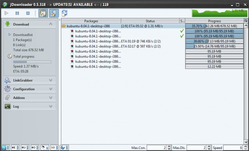 JDownloader screenshot 1
