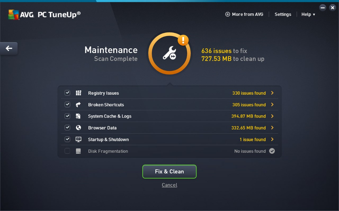 AVG PC TuneUp screenshot 0
