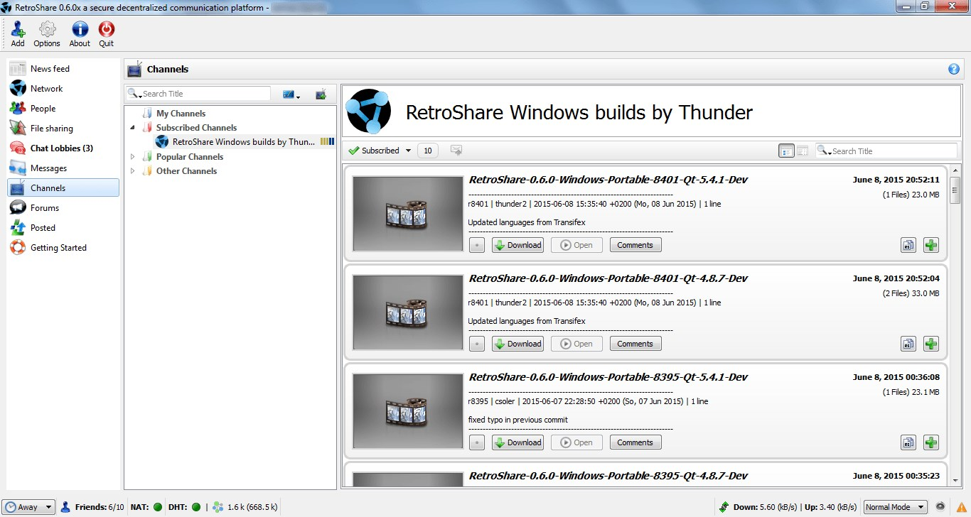 RetroShare screenshot 1