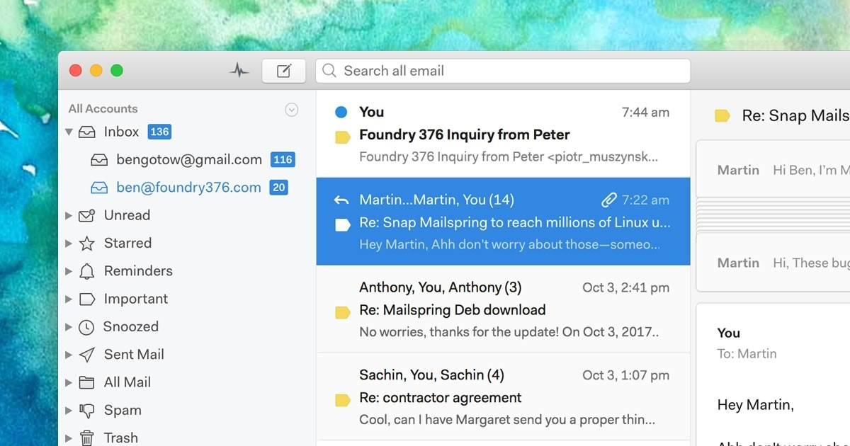 Mailspring screenshot 0