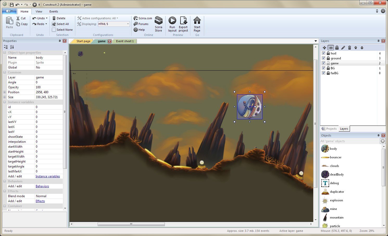 Construct 2 screenshot 1