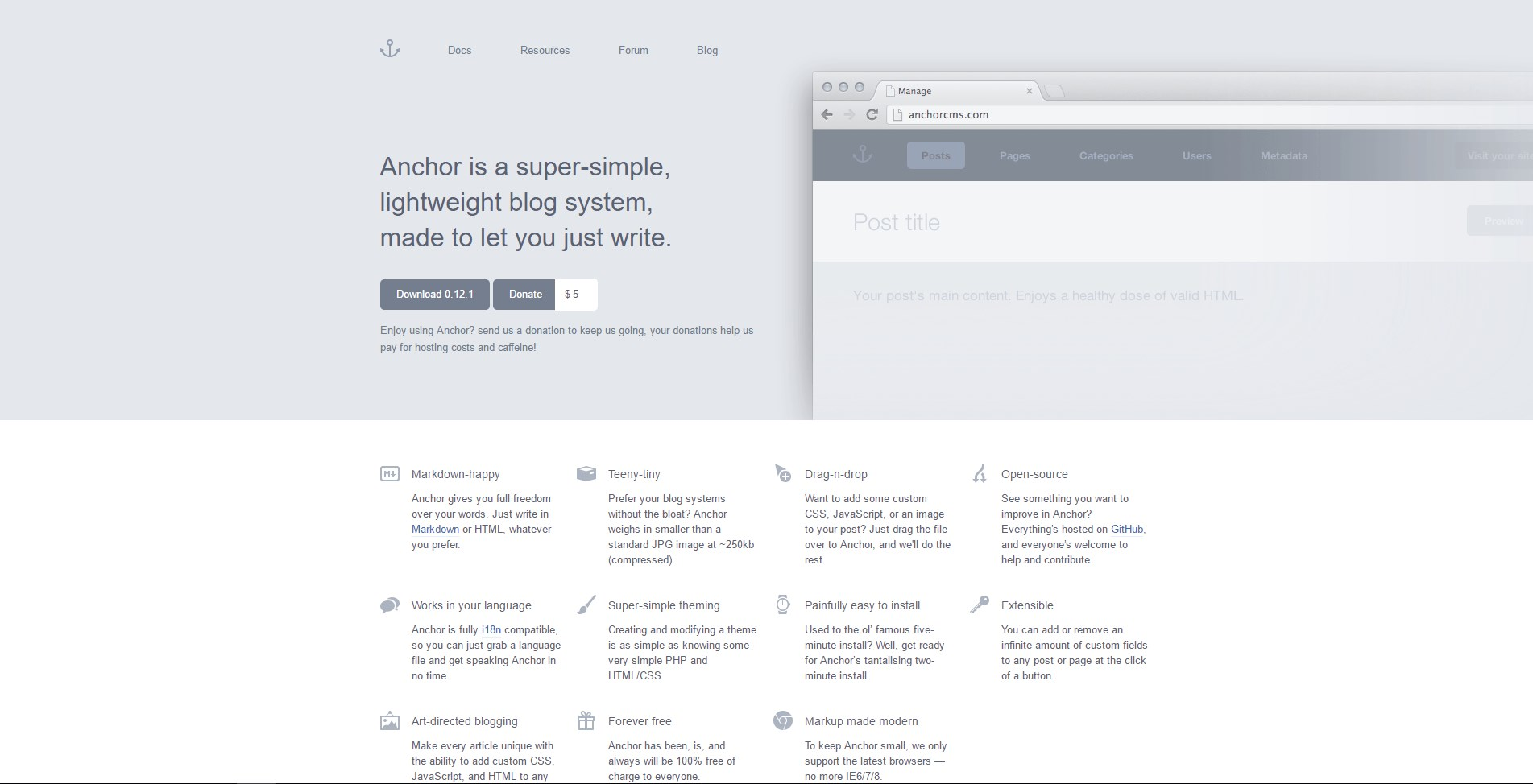 Anchor CMS screenshot 0