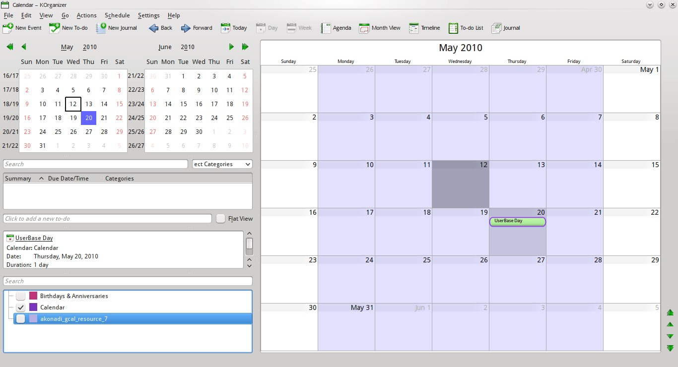 Kontact - KOrganizer screenshot 0