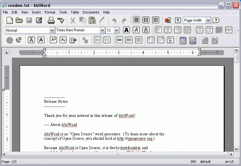 AbiWord screenshot 1
