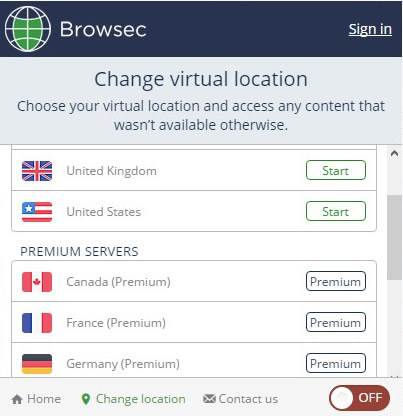 Browsec screenshot 2