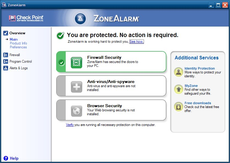 ZoneAlarm Free Firewall screenshot 0