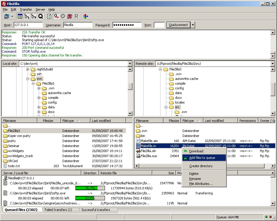 FileZilla screenshot 0