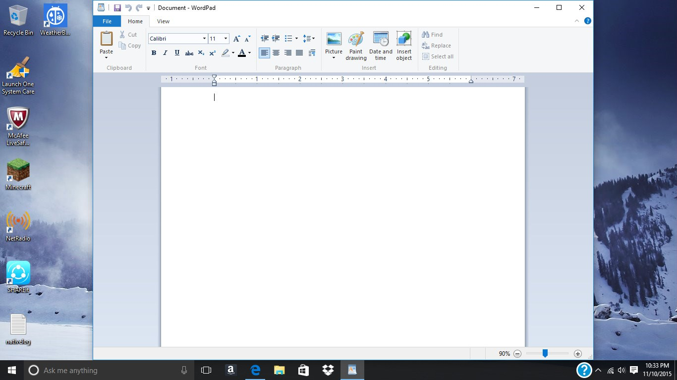WordPad screenshot 1