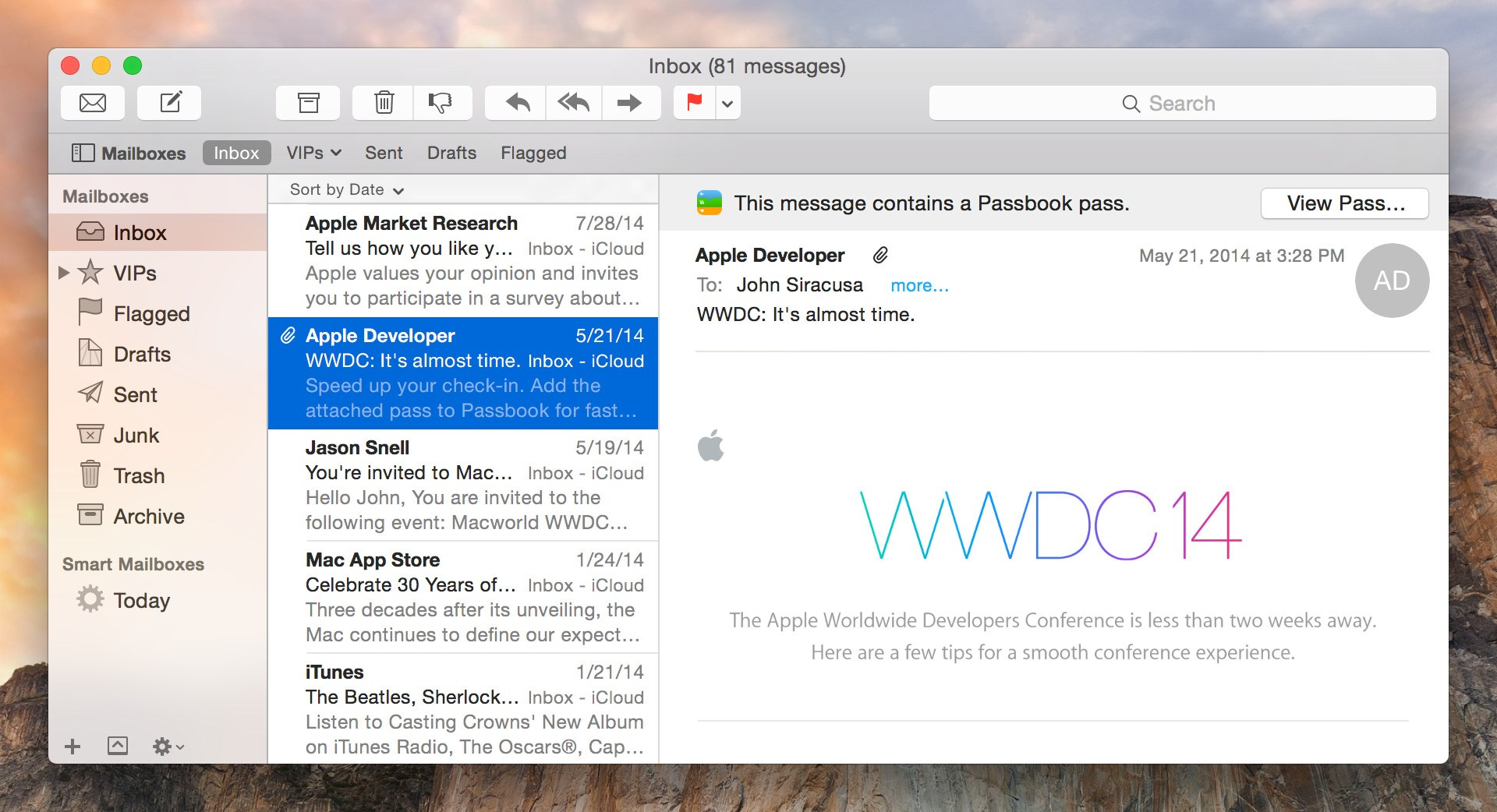 Apple Mail screenshot 1