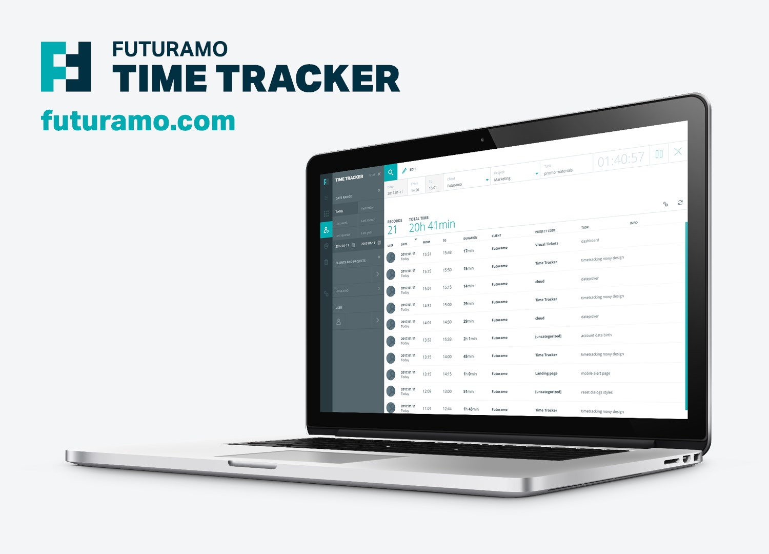 Futuramo Time Tracker screenshot 1