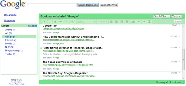 Google Bookmarks screenshot 0