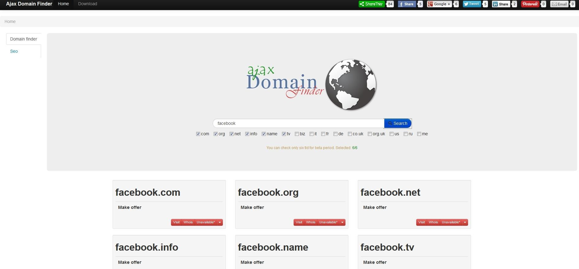 Ajax Domain Finder screenshot 0