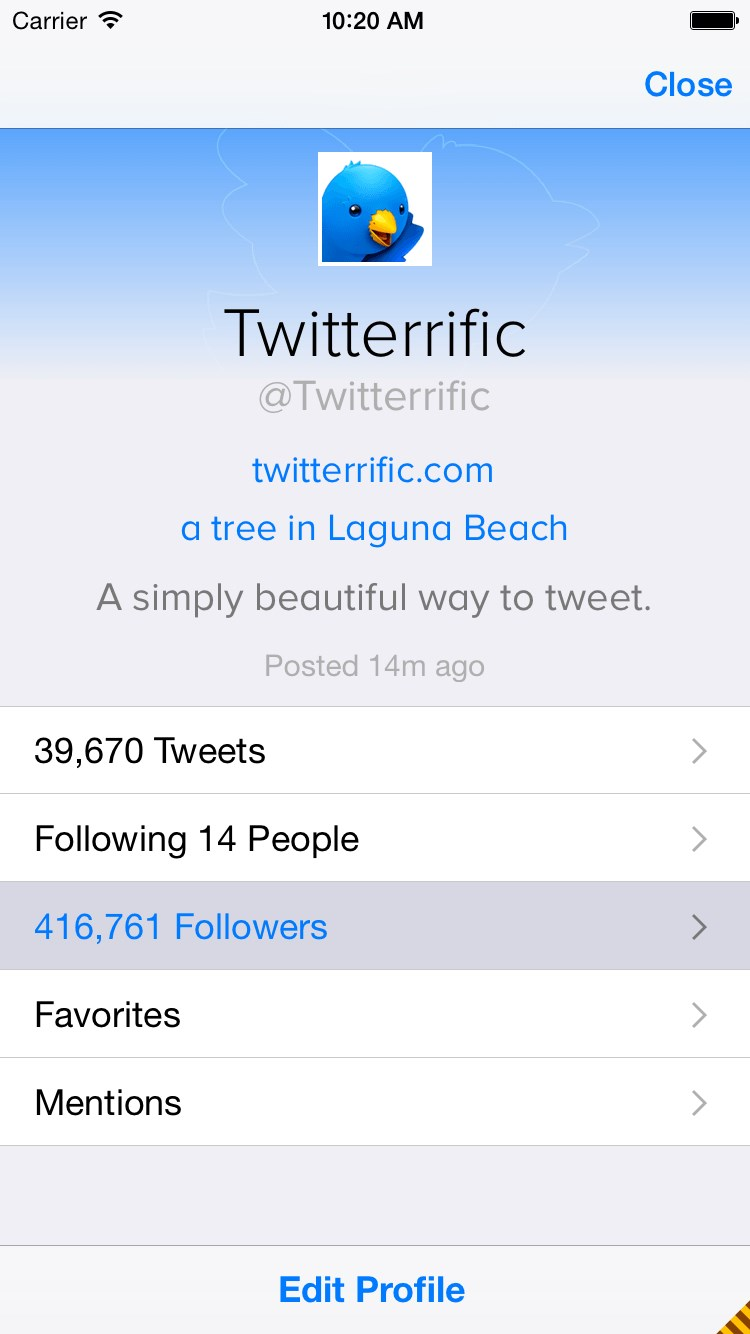 Twitterrific screenshot 1