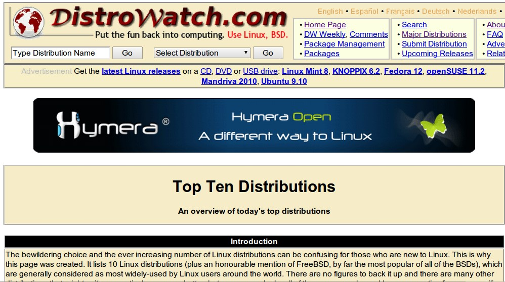 DistroWatch screenshot 2