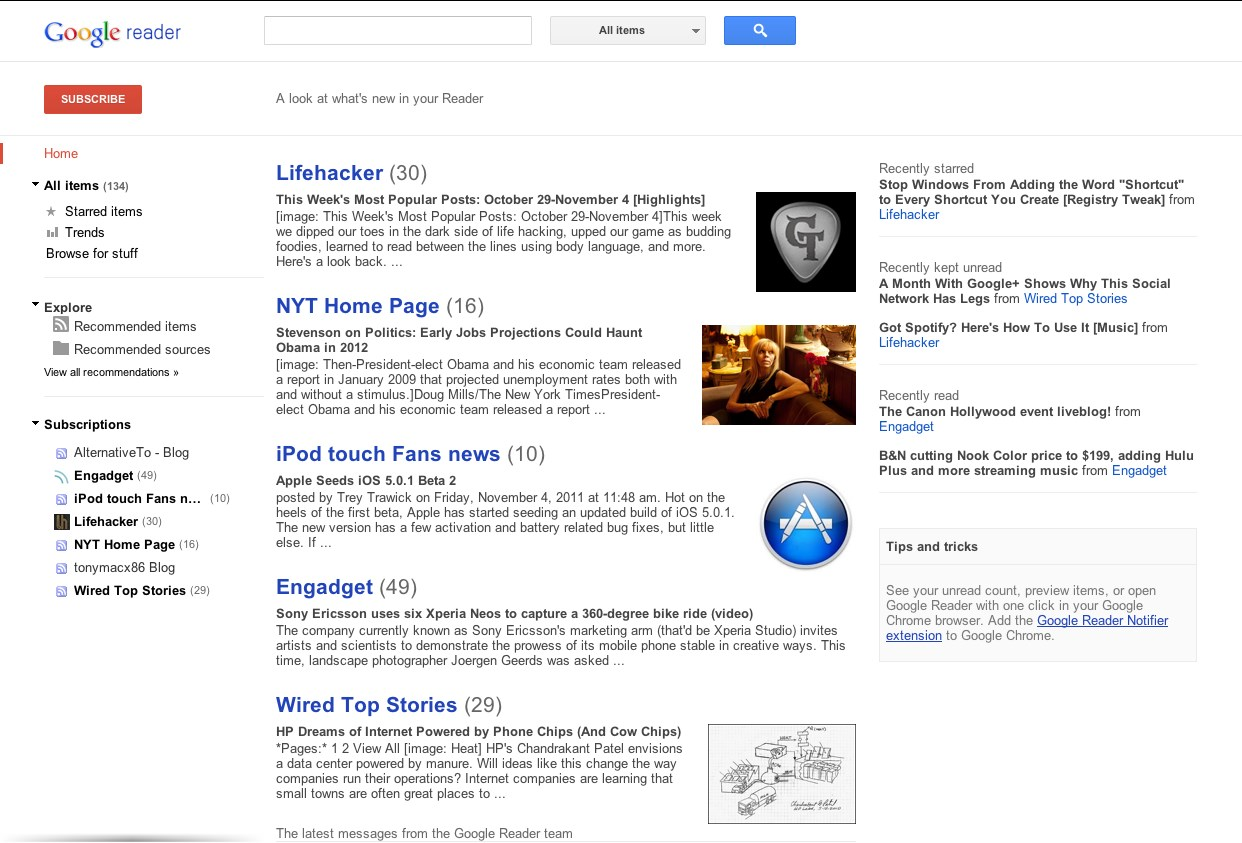 Google Reader screenshot 0