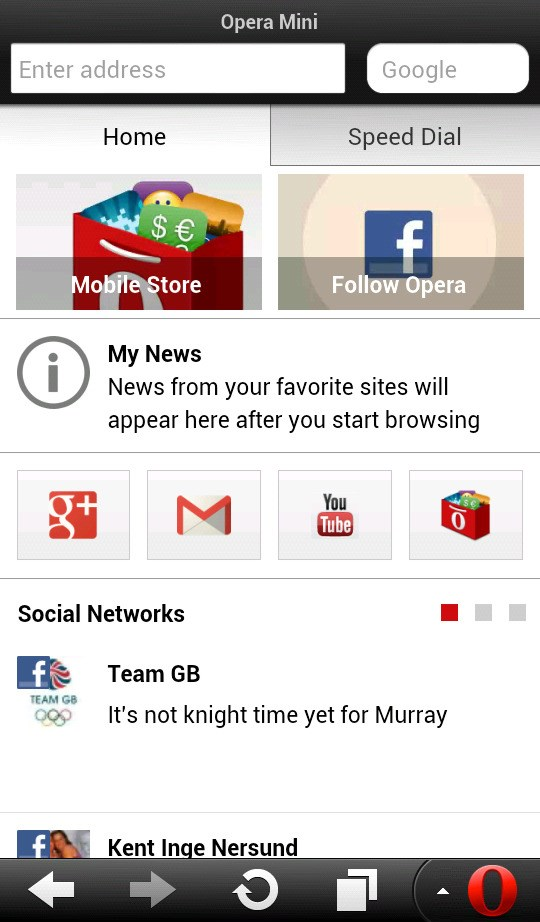 Opera Mini screenshot 1