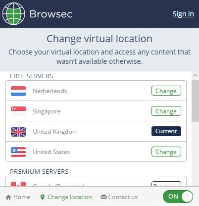 Browsec screenshot 1