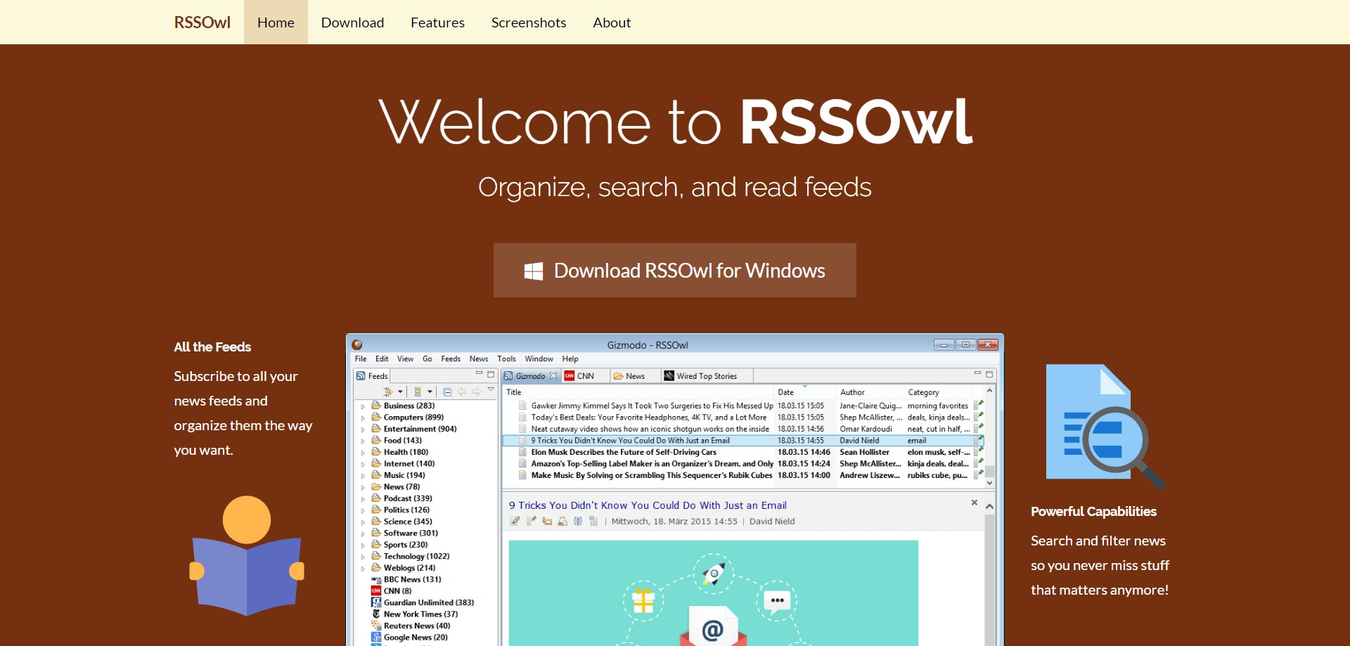 RSSOwl screenshot 0