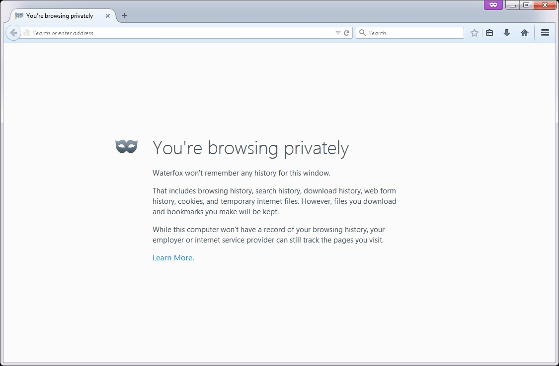 Waterfox screenshot 1