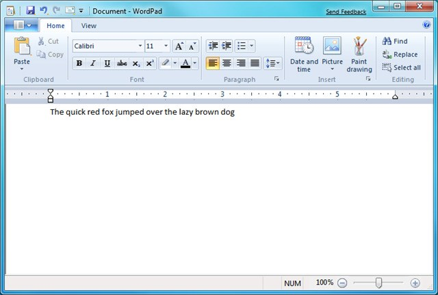 WordPad screenshot 0