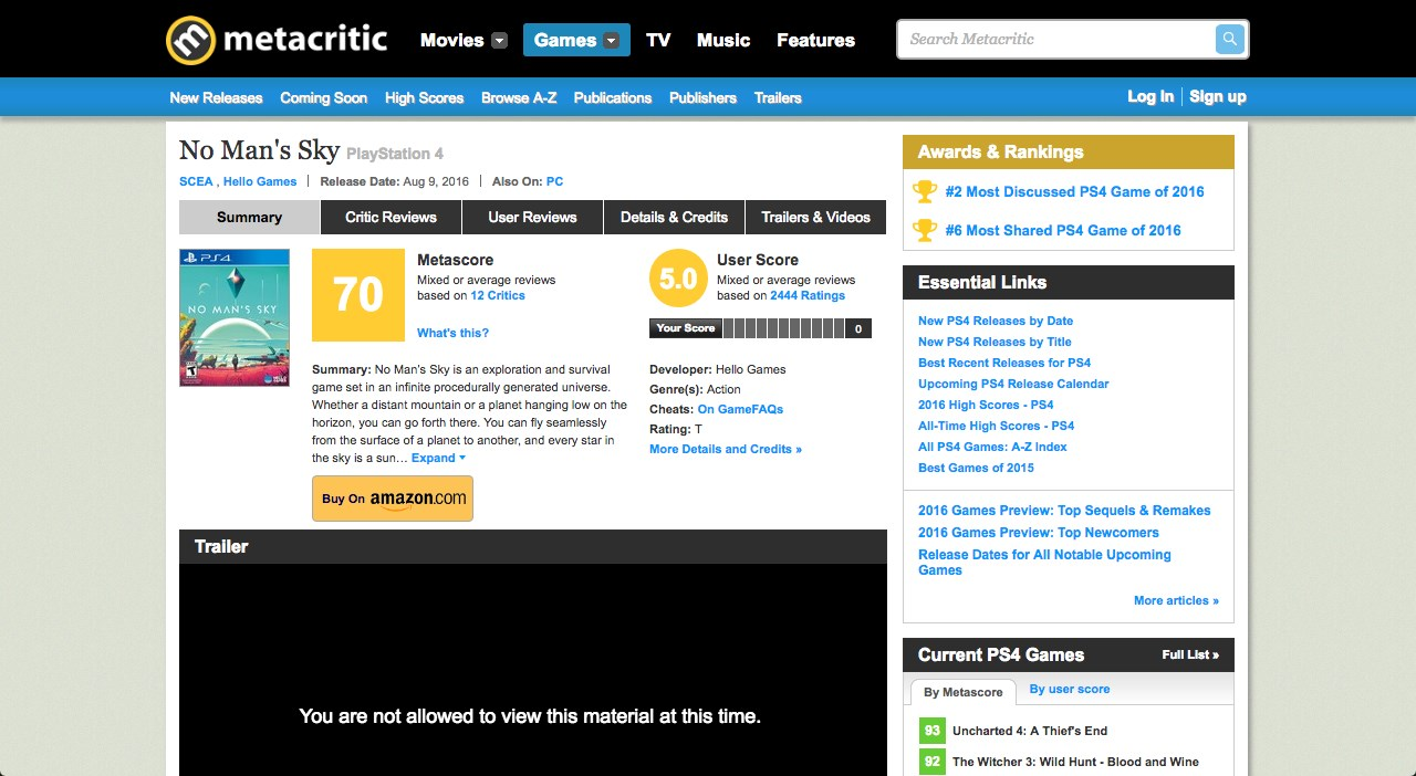 Metacritic screenshot 1
