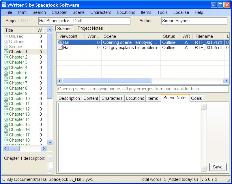 yWriter screenshot 0