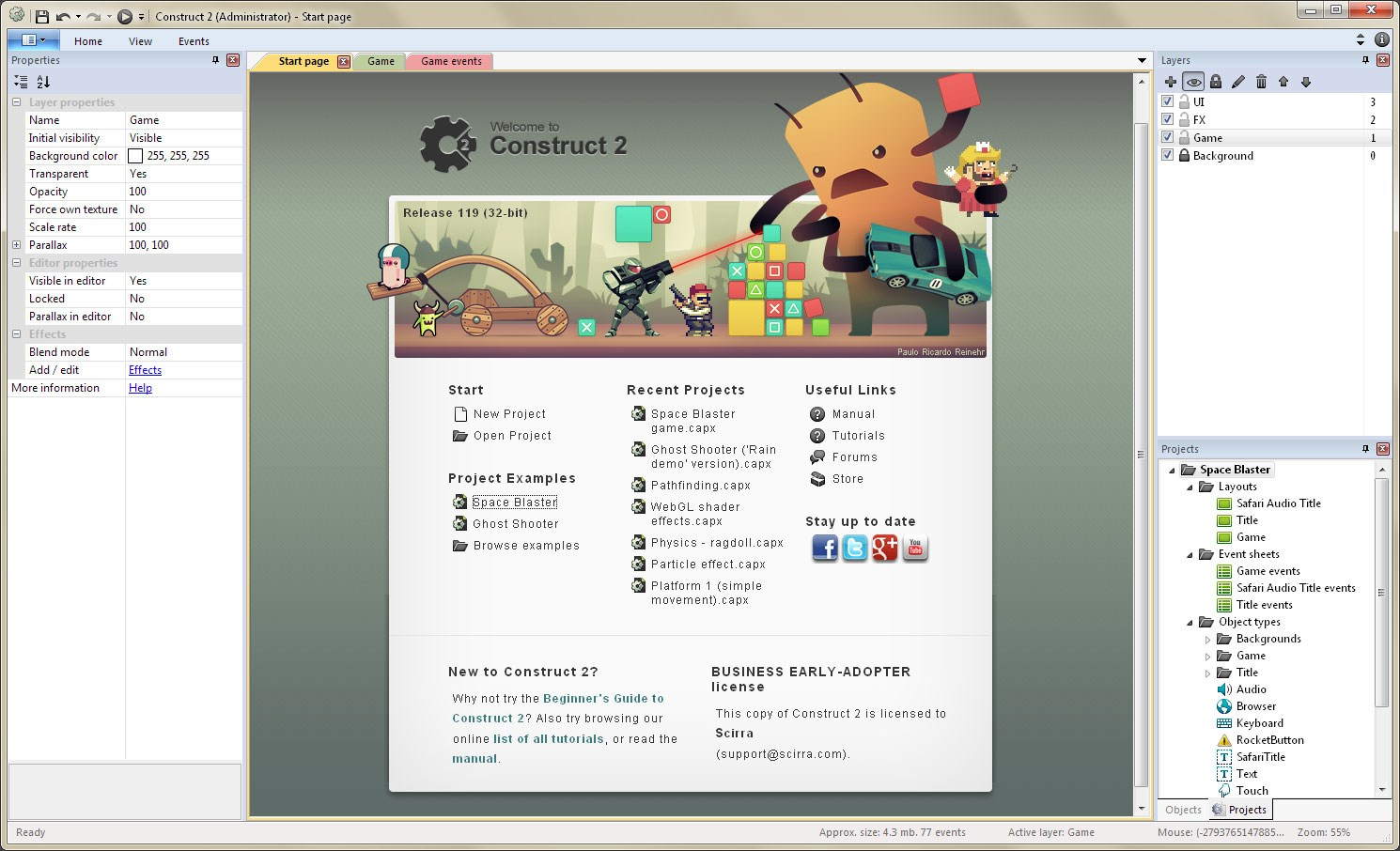 Construct 2 screenshot 0
