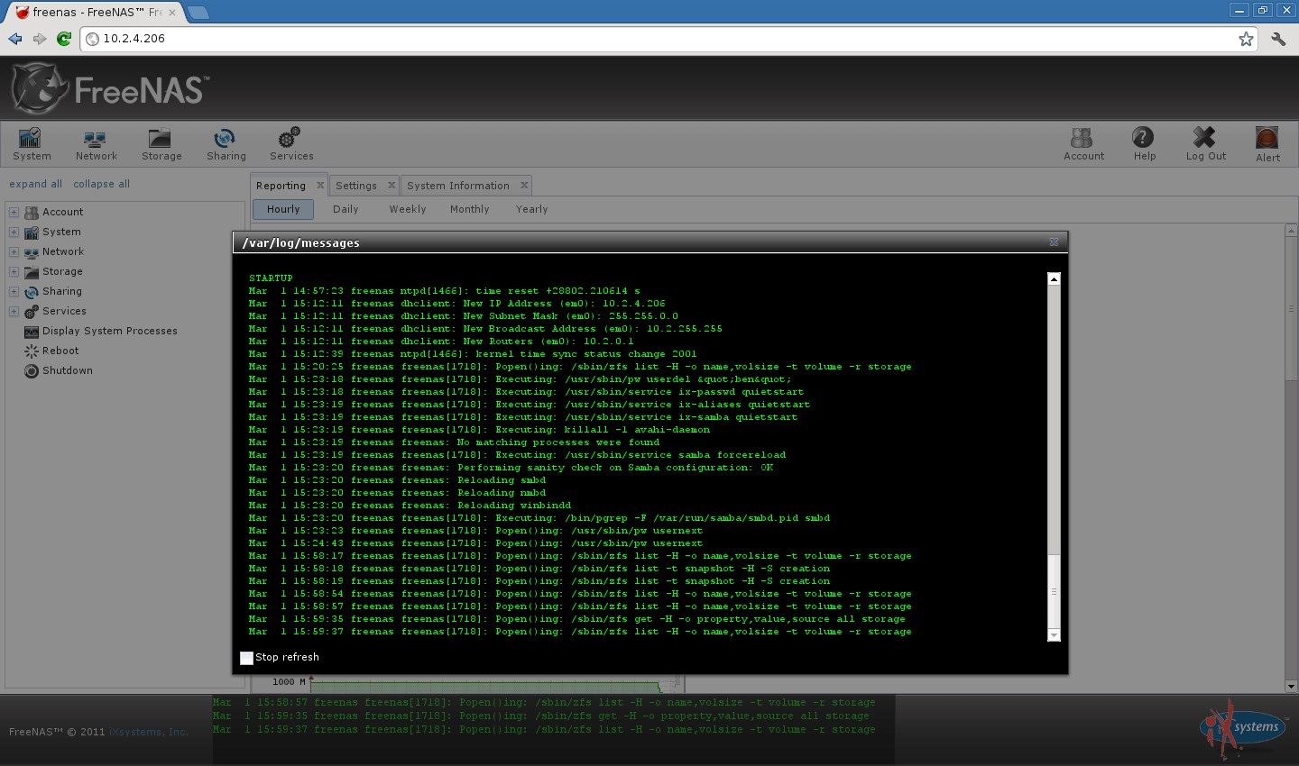 FreeNAS screenshot 1