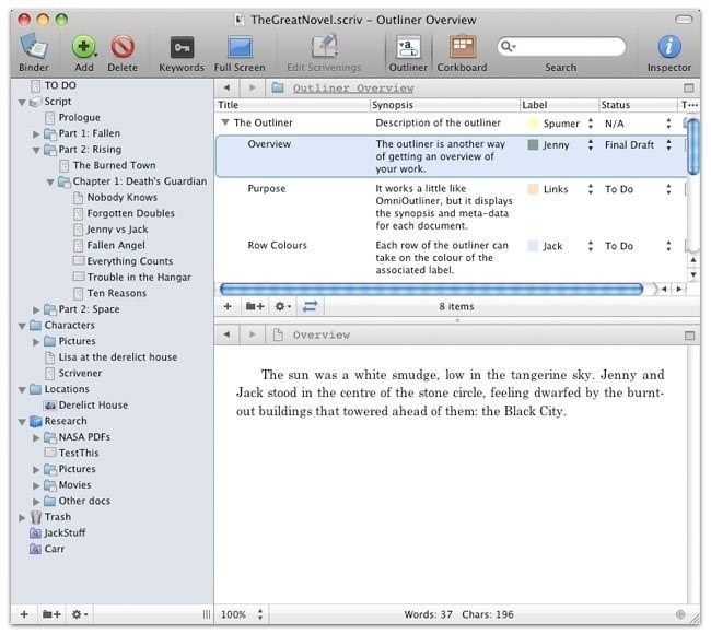 Scrivener screenshot 1